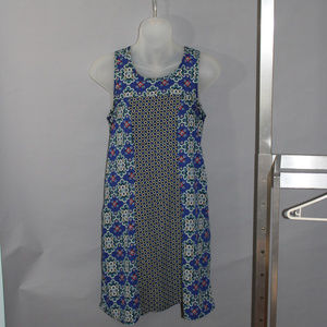 Midi length dress, sleeveless, size 2P, blue